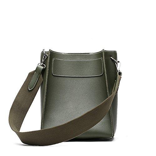 FangYOU1314 Bolso de Hombro de Color Sólido de la Correa Ancha Casual Bolso de Cubo de la Diagonal Bolso de Cuero Suave (Color : Negro) Marrón