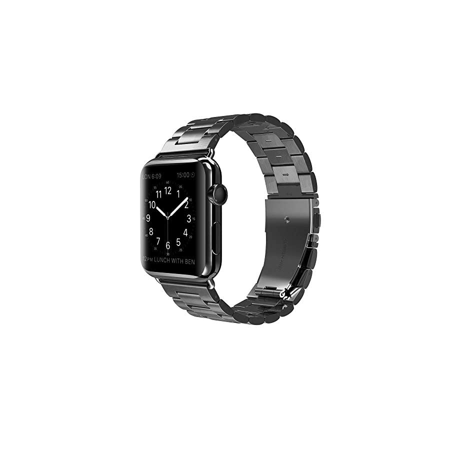 PUGO TOP for Apple Watch Band 42mm 38mm for Women Men, Stainless Steel Metal Replacement Strap Band for iWatch Apple Watch Series 4/3/2/1, Sport, Nike+, Edition