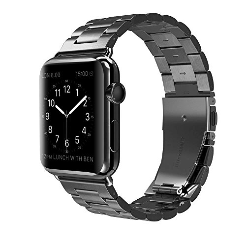 Apple Watch Band 42mm 38mm for Women Men, PUGO TOP Stainless Steel Metal Replacement Strap Band for iWatch Apple Watch Series 3/2/1, Sport, Nike+, Edition