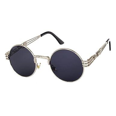 61885794ba ❤️LILICAT Hommes Femmes Ronde Carré Vintage Miroir Lunettes De Soleil  Lunettes Sports de Plein Air Glasse Classique Steampunk Lunettes de Soleil  (A): ...