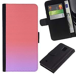 Paccase / Billetera de Cuero Caso del tirón Titular de la tarjeta Carcasa Funda para - purple peach pink pastel colors cute - Samsung Galaxy Note 4 SM-N910
