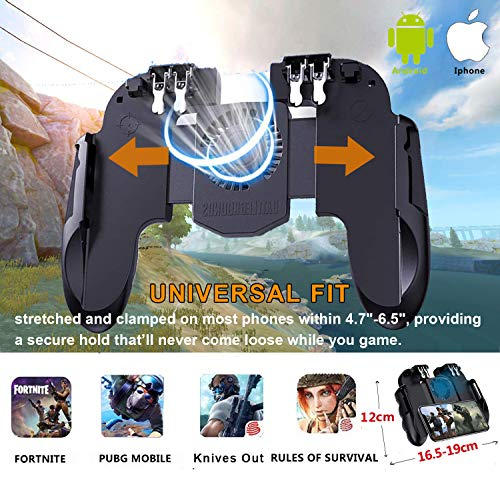 "Mobile Game Controller with Cooling Fan/Phone Holder, Phone Gamepad for PUBG/Fortnite/Call of Duty, Tomoda L1R1 Mobile Triggers for 4.7""-6.5"" iOS Android Phones"