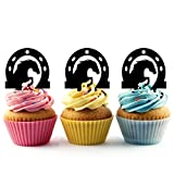 TA0379 Horse Inside Horseshoe Silhouette Party Wedding Birthday Acrylic Cupcake Toppers Decor 10 pcs