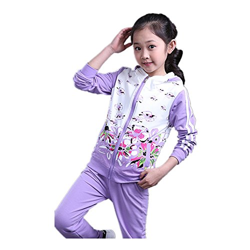 FTSUCQ Girls Floral Printed Sweatsuit Sports Two-pieces Set,Purple 140