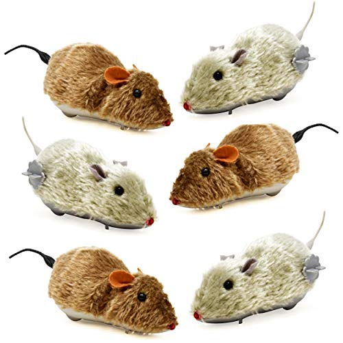 """6 Halloween Mice Decoration Wind Up Realistic Furry Mouse Brown & Grey Hairy Scary Creepy Spooky Props For Adult Kid Children Play Windup Racing Running Moving Large Plastic Fake Gag Prank Toy 6.75"""""""