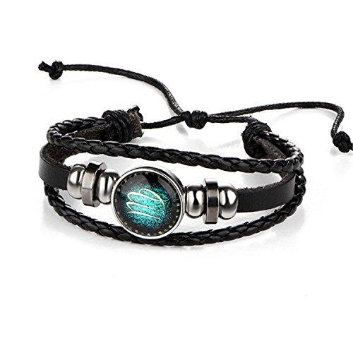 Leather Love Bracelets for Women Man Multiple Layer Button Scorpio Aquarius Jewelry Virgo (Tiffany Palm Tree Necklace)