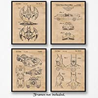 Original Batmobile Patent Art Poster Prints- Set of 4 (Four 8x10) Unframed Photos- Great Wall Art Decor Gifts Under $20 for Home, Office, Garage, Man Cave, Student, Teacher, Batman-ComicCon-Movies Fan