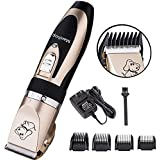 Maxshop Low Noise Rechargeable Cordless Pet Dogs and Cats Electric Clippers Grooming Trimming Kit Set (Gold+Black)