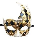 Men's Masquerade Mask Vintage Venetian Checkered Musical Party Mardi Gras Mask (Gold/Black)