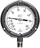 WIKA 9833948 Process Pressure Gauge, Liquid-Filled, Stainless Steel 316L Wetted Parts, 4-1/2'' Dial, 30''Hg-0-60 psi Range, +/- 0.5% Accuracy, 1/2'' Male NPT Connection, Bottom Mount