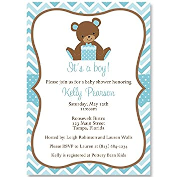 Amazon Com Chevron Teddy Bear Baby Shower Invitations Teddy Bear