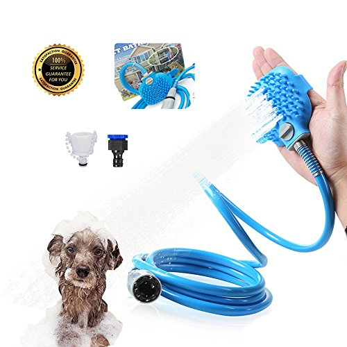 Lokinly Pet Shower Sprayer Pet Bathing Tool for Dog and Cat Pet Handheld Shower Hose with Grooming Bath Massage Adjustable 7.5Ft. Indoor-Outdoor Use