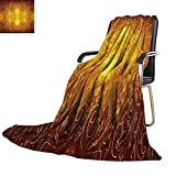 YOYI-home Throw Blanket Antique Metal Design as Burnished Warm Microfiber All Season Blanket for Bed or Couch 50''x30''
