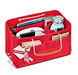 Vercord Felt Handbag Purse Organizers Insert With Removable Zipper Compartment and Keychain 13 Pockets 4 Size, Red L