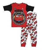 Disney Cars 3 Little Boys Toddler Cotton Pajama Set (3T, White)