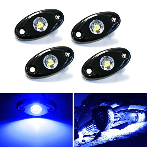Ground Effect Lights (iJDMTOY (4) Universal Fit 3-CREE 9W High Power LED Rock Light Kit For Jeep Truck SUV Off-Road Boat, Ultra Blue)