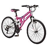 Mongoose Exlipse Bicicleta de montaña de doble suspensión para niños, con marco de acero pequeño de 15 pulgadas y tren de transmisión Shimano de 21 velocidades con ruedas de 24 pulgadas, soporte incluido, color rosa
