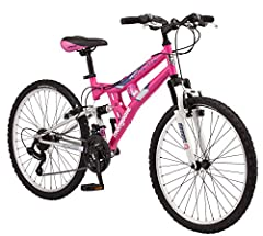 """The Mongoose Exlipse 24"""" girl's full suspension mountain bike is the perfect bike for your youngster to cruise around , go to school or enjoy the bike paths. The Exlipse is equipped with a strong but lightweight steel frame with front and rea..."""