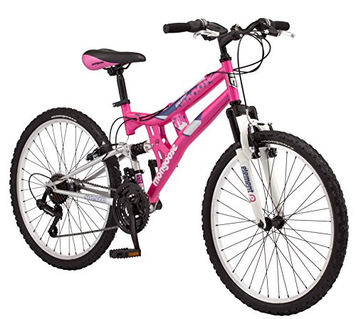 - Mongoose Exlipse Full Dual-Suspension Mountain Bike for Kids, Featuring 15-Inch/Small Steel Frame and 21-Speed Shimano Drivetrain with 24-Inch Wheels, Kickstand Included, Pink