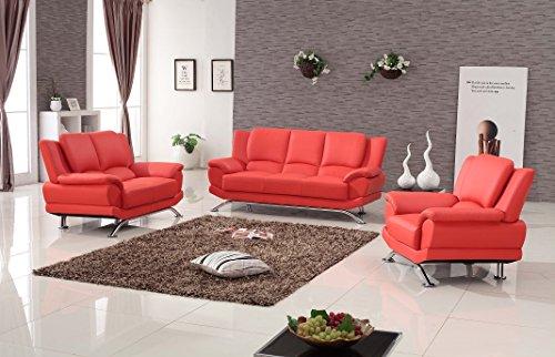 Milano Leather Sofa Set (Milano Contemporary Leather Sofa Set (RED))