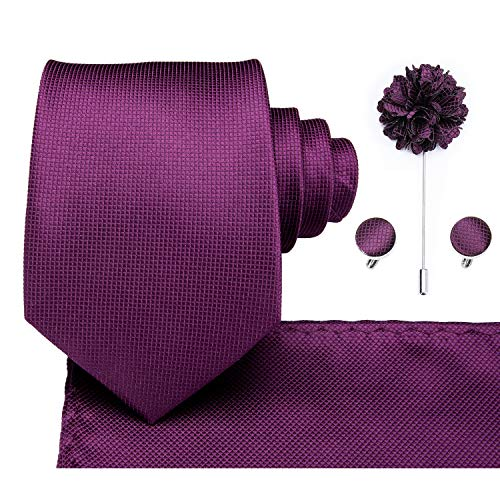 (Dubulle Purple Tie Set with Lapel Flower and Hankerchief)