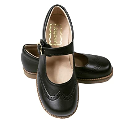 Foxpaws Jane Black Leather Girls School Shoes with Buckle Closure