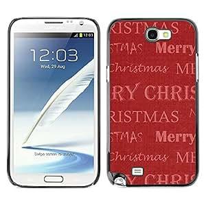 FECELL CITY // Duro Aluminio Pegatina PC Caso decorativo Funda Carcasa de Protección para Samsung Note 2 N7100 // Christmas Winter Red Gift Holidays