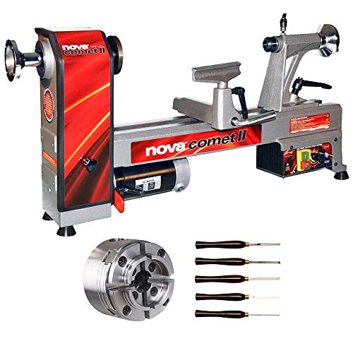NOVA 46302 Comet II Bench Lathe Package with 48232 Chuck and 9033 Turning Tools by Nova