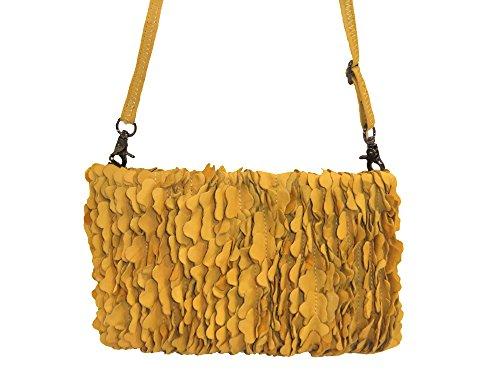 Abbacino Clutch Reißverschluss Rüschen Leder 3324-60 gelb