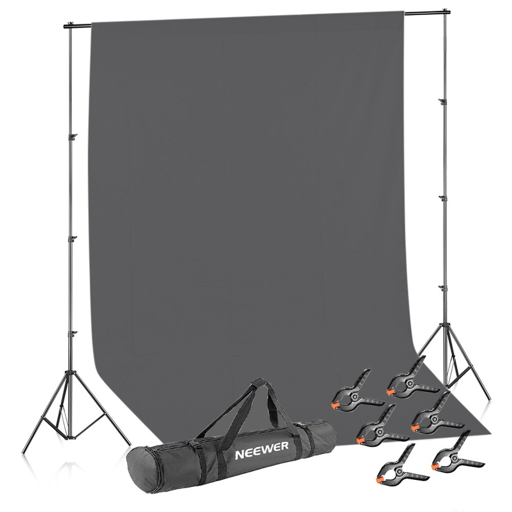 Neewer Lighting Studio Background Kit Includes: 8.5x10 feet/2.6x3 Meters Backdrop Stand Support System, 6x9 feet/1.8x2.8 Meters Gray Muslin Backdrop, 6 Pieces Backdrop Clamps and Carrying Case