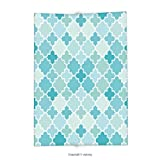 Custom printed Throw Blanket with Teal Decor Collection Tile Shaped Texture Pattern Islamic Historical Architecture Mosaic Style Illustration Turquoise Super soft and Cozy Fleece Blanket