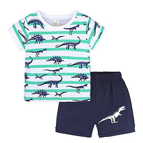 MOGOV 2Pcs Toddler Kids Baby Boys Summer Pajamas Cartoon Dinosaur Print Tops +Shorts Outfits Set Green