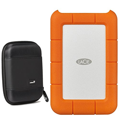 (LaCie Rugged USB-C 4TB External Hard Drive USB 3.0 (STFR4000800) with Ivation Compact Portable Hard Drive Case (Small))