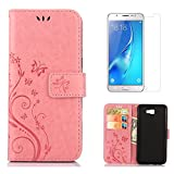 "for Samsung Galaxy J7 Prime Case Wallet ,OYIME [with Screen Protector] Kickstand [Butterfly Flower Embossed] Magnetic Flip Leather Protective Back Cover Card Slot Holder with Lanyard Strap for ""Galaxy J7 Prime"" (NOT For Galaxy J7) - Pure Pink"