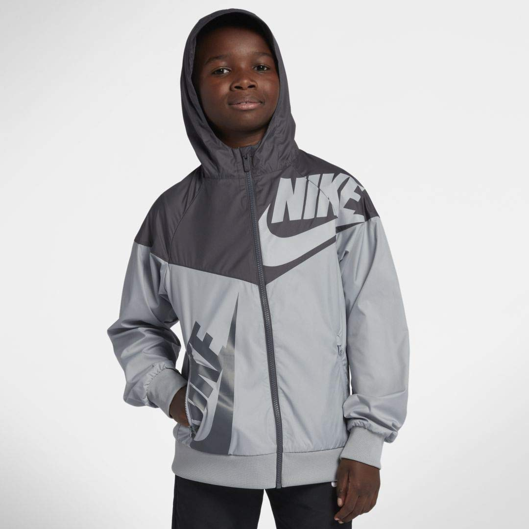 Nike Boy's Sportswear Graphic Windrunner Jacket (Gray, X-Large) by Nike