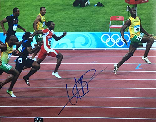 USAIN BOLT Jamaica 3X Olympic Gold Medal Sprinter Autographed 11x14 Photo (Usain Bolt Fastest Man In The World)