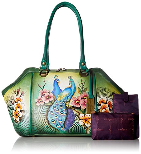 Anuschka Hand Painted Leather Large Wide Satchel, Passionate Peacocks by ANUSCHKA (Image #6)