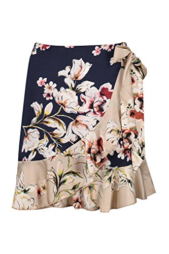Boohoo Womens Nadia Woven Contrast Floral Sateen Mini Skirt In Navy Size (Floral Sateen Skirt)