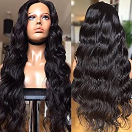 CY Wigs Body Wave Natural Color Full Lace Wigs Brazilian Virgin Hair Lace Front Wigs Human Hair Wigs For Black Women (14 inch, Full Lace Wigs)
