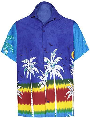LA LEELA Mens Button Down Hawaiian Shirt Spread Collar Short Sleeves Aloha