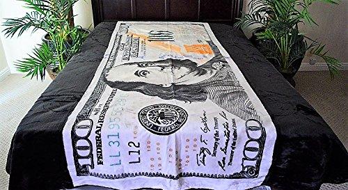 (V's Signature Collection Hundred Dollar Bill Money Benjamin Franklin Luxury Super Soft Medium Weight QUEEN size Mink Blanket 1ply)