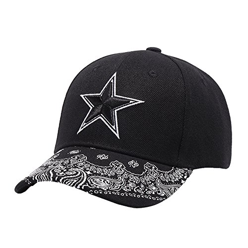 (Unisex Embroidery Big Star Adjustable Baseball Cap, Paisley Floral Cotton Snapback Hat)