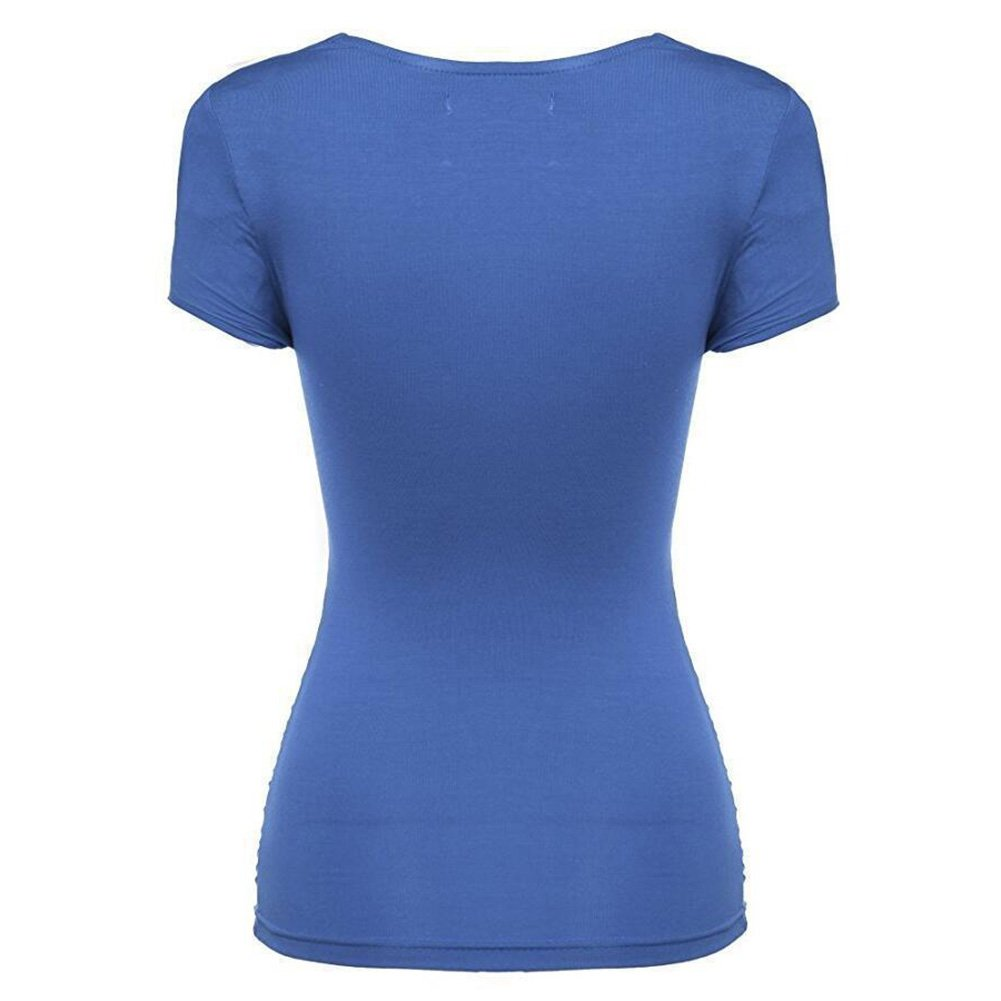 Juleya Camiseta Mujer Slim Fit Camisa Cross Criss V Cuello Tops Blusa de Manga Corta Sólida Suave Cómodo Casual: Amazon.es: Ropa y accesorios