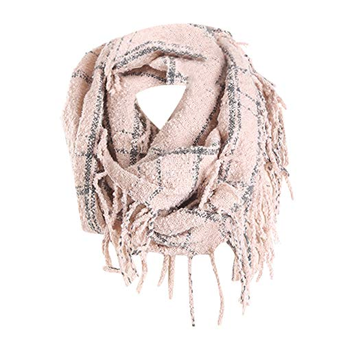 Plaid Scarfs Hot Sale, deatu Clearance Man Woman Teen Girl Winter Warm Tassel LongPlaid Soft Shawl Infinity Scarf (Pink)