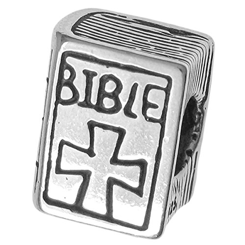 Dreambell 925 Sterling Silver Christian Bible Book Cross Bead For European Charm Bracelets (Silver Sterling Bible)