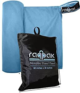 Raqpak Microfiber Towel for Travel, Gym, Camping - Small and Compact, Antibacterial and Quick Dry with Small Carry Pouch (Blue, 40 X 20 Inches)