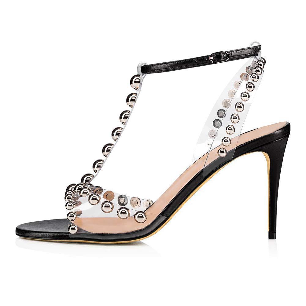 Black Women Ladies Summer Heeled Sandals Rivet Stiletto Heels Pumps High Heel shoes Transparent PVC Peep Open Toe Ankle T-Straps Buckle Dress Party Black Size EU 35-46