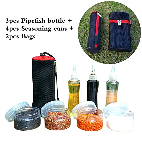 MLMSY 7 Set Outdoor Cruet Bottles Boxes Sealed Portable Barbecue Sauce Pot Seasoning Condiment Bottles Box Kit ,3