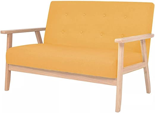 XINGLIEU Sofá Cama Amarillo,Sofa de Jardin Exterior,Sofa Reclinable,Tela + Madera 113,5 x 67 x 73,5 cm: Amazon.es: Hogar