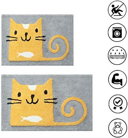 Injoy Bath Mat 2 Pack – 17×26 20×32 Inch – Anti-Slip Cartoon Microfiber Strong Water Absortion Bathroom Rug Inside Door Mat Home Entrance Indoor Entry Doormat for Restroom Living Room Cat